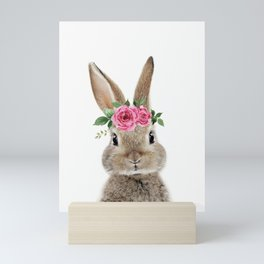 Bunny with Flower Crown Mini Art Print