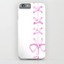 Laced Pink Ribbon on White iPhone Case