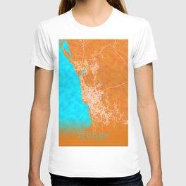 Jeddah, Saudi Arabia, Gold, Blue, City, Map T-shirt