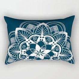 Lotus white mandala on blue Rectangular Pillow