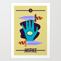 justice Art Prints featuring JUSTICE by badOdds