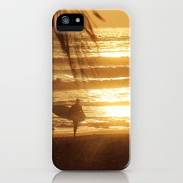 Golden Beach with Surfer (Color) iPhone Case