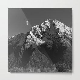 Moon Over Pioneer Peak B&W Metal Print
