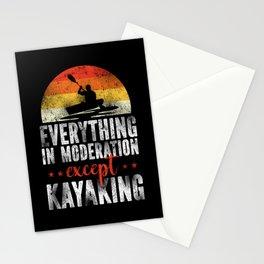 Retro Kayaking Everything In Moderation Except Kayaking Stationery Cards