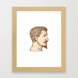 Male Goatee Side View Etching Framed Art Print