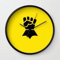 warhammer Wall Clocks featuring Warhammer 40k Imperial Fists Minimalist Print by Milos Cakovan