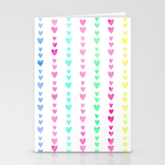 Cute Pastel Girly Rainbow Hearts pattern Stationery Cards