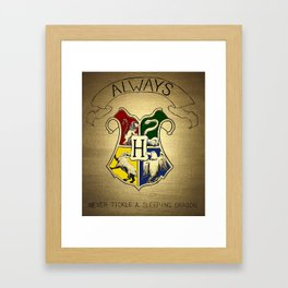 Always - Hogwarts emblem containing Sytherin, Gryffindor, Ravenclaw and Hufflepuff house animals Framed Art Print
