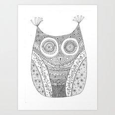 Owl Doodle art Art Print