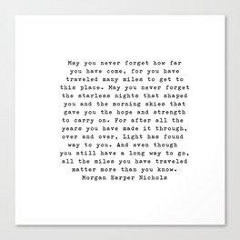 Typewriter Style Quote ((Morgan Harper Nichols)) Canvas Print