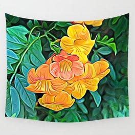 Orange Flowers of Flowing Circuitry Wall Tapestry