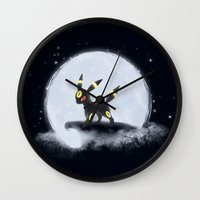umbreon Wall Clocks featuring Umbreon by EnaGrapher