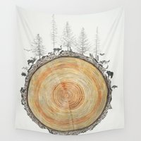 tree rings Wall Tapestries featuring Tree Rings by dreamshade