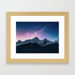 Mountains & Milky Way Framed Art Print