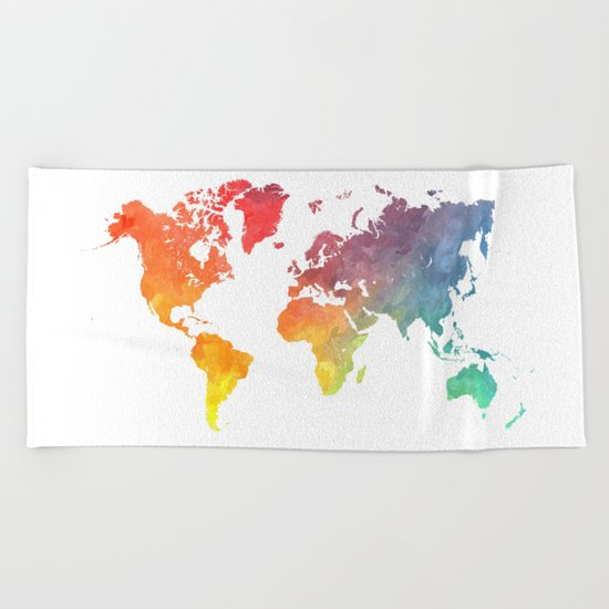 Map of the world colored Beach Towel
