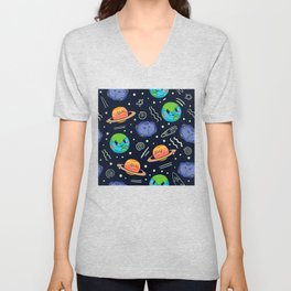 Funny Cartoon Space Pattern Unisex V-Neck