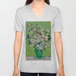 White Rose In A Vase Vincent van Gogh 1890 Oil on Canvas Still Life With Floral Arrangement Unisex V-Neck