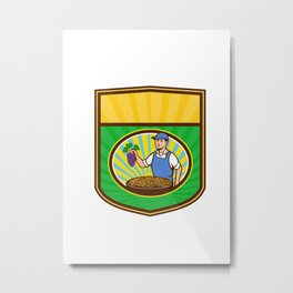 Organic Farmer Boy Grapes Raisins Crest Retro Metal Print