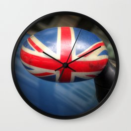 Union Jack painted on a rearview mirror Wall Clock