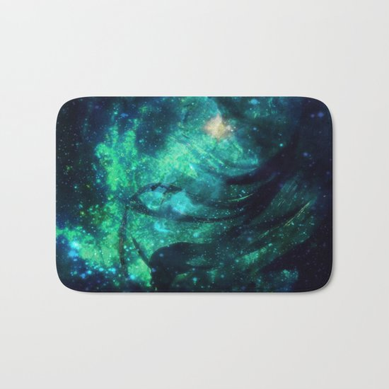 Turquoise Stars and Ribbons Bath Mat