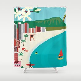 Oahu, Hawaii - Skyline Illustration by Loose Petals Shower Curtain