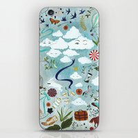 iPhone & iPod Skins featuring Let's Take the Train by Rebecca Rebouche