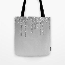 Gray & Silver Glitter Drips Tote Bag