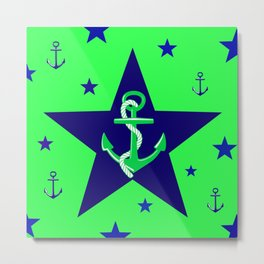 Navy Anchor On Lime Background Metal Print