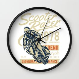 Scooter Racer Racing Championship Wall Clock