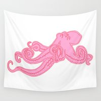 preppy Wall Tapestries featuring Kawaii steampunk octopus kraken squid sea monster vintage takoyaki cute pink preppy nautical print by iGallery