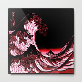 The Great Wave : Red & Black Metal Print