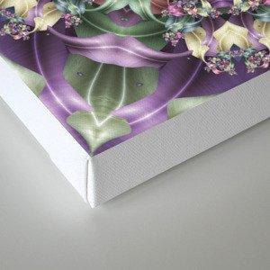 Fractal Ribbon Mandala in Purple, Green, Pink and Yellow Canvas Print