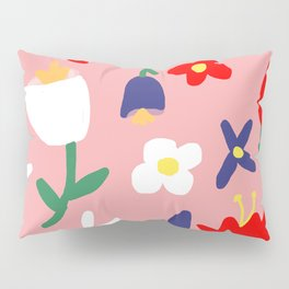 Large Handdrawn Bacchanal Floral Pop Art Print Pillow Sham