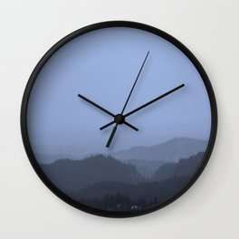 Mountains (Cyan Tone) Wall Clock