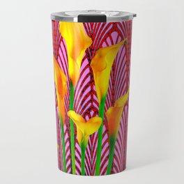 GOLDEN CALLA LILIES & RED ART DECO ART Travel Mug