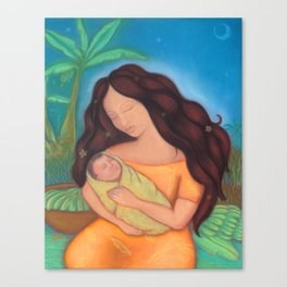 Hawaiian Mother & Child, Banana Tree Canvas Print