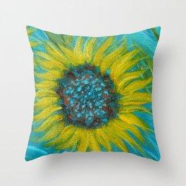 Sunflowers on Turquoise II Throw Pillow
