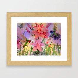 Painterly Hummingbirds And Flowers Framed Art Print