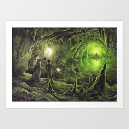 Harry and Dumbledore in the Horcrux Cave Art Print