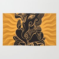 hindu Area & Throw Rugs featuring Hindu God Ganesha by Smyrna