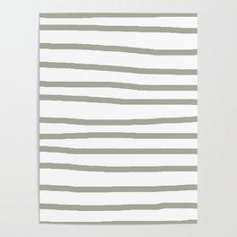 Simply Drawn Stripes Retro Gray on White Poster