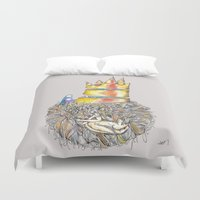 vonnegut Duvet Covers featuring Lucky Mud Lucky Me by Hayley Powers Studio