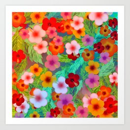 Colorful Hibiscus Art Print