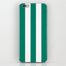 Generic viridian green - solid color - white vertical lines pattern iPhone Skin