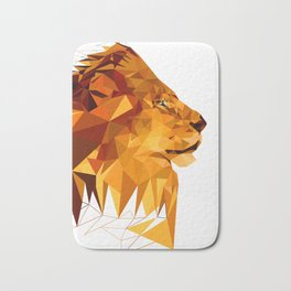 Geometric Lion Wild animals Big cat Low poly art Brown and Yellow Bath Mat