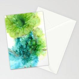 Green and Blue Dahlias Stationery Cards