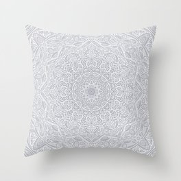 Most Detailed Mandala! Cool Gray White Color Intricate Detail Ethnic Mandalas Zentangle Maze Pattern Throw Pillow