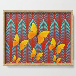 YELLOW ART DECO BUTTERFLIES & CUMIN COLOR ART Serving Tray