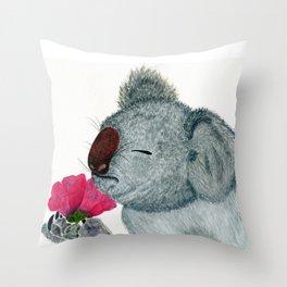 Koala Flower Throw Pillow