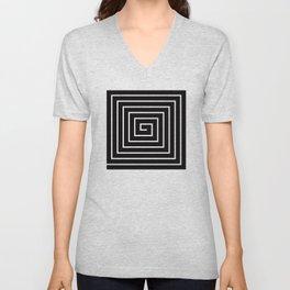 Black White Spiral Unisex V-Neck